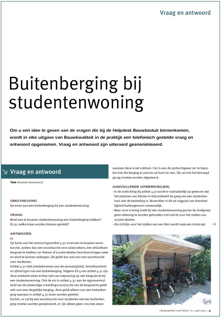 Buitenberging bij studentenwoning
