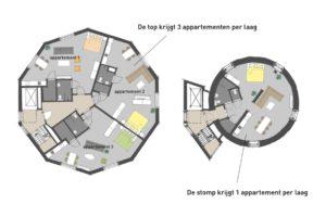 Transformatie watertoren Zwolle doorsnede