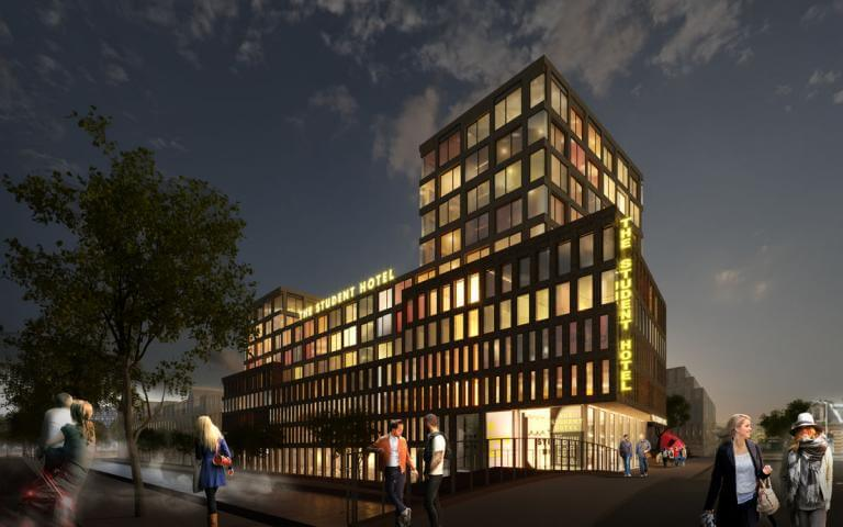 Impressie Student Hotel Delft by night door KCAP