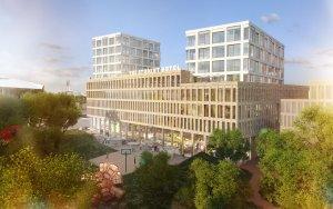 Impressie Student Hotel Delft park-door KCAP