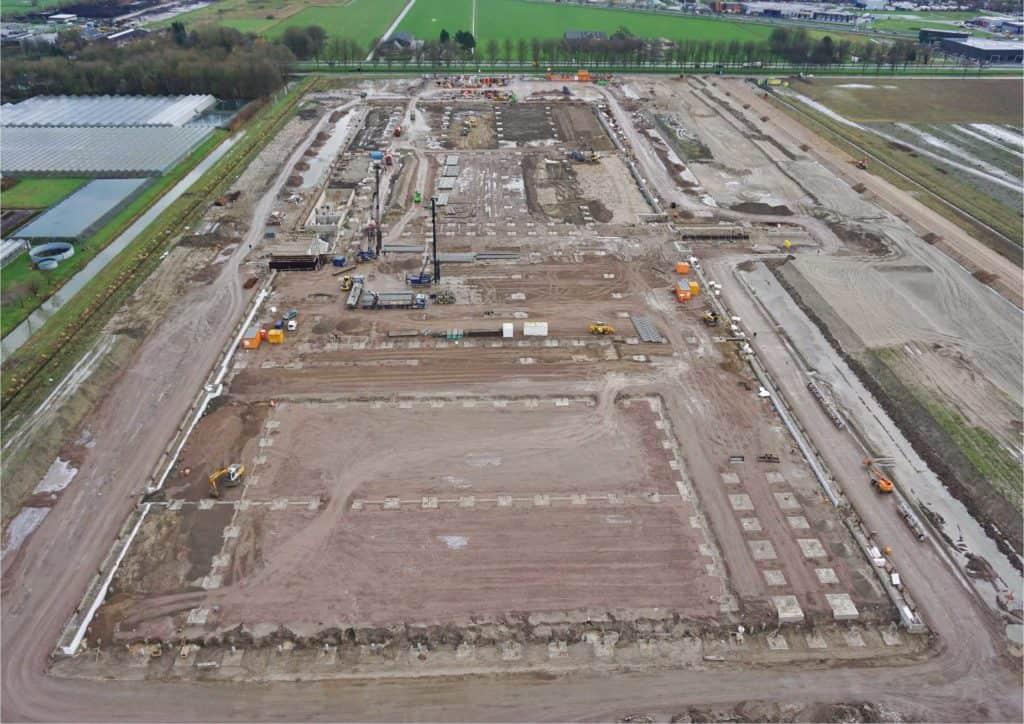Luchtfoto distributiecentrum in aanbouw