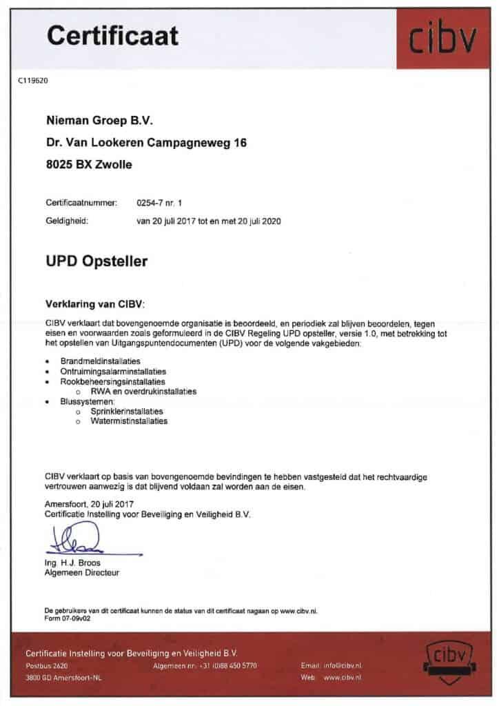 Certificaat bedrijfserkenning UPD Opsteller 2017