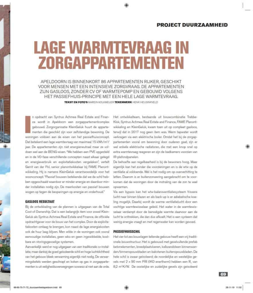 Lage warmtevraag in zorgappartementen-Bouwwereld