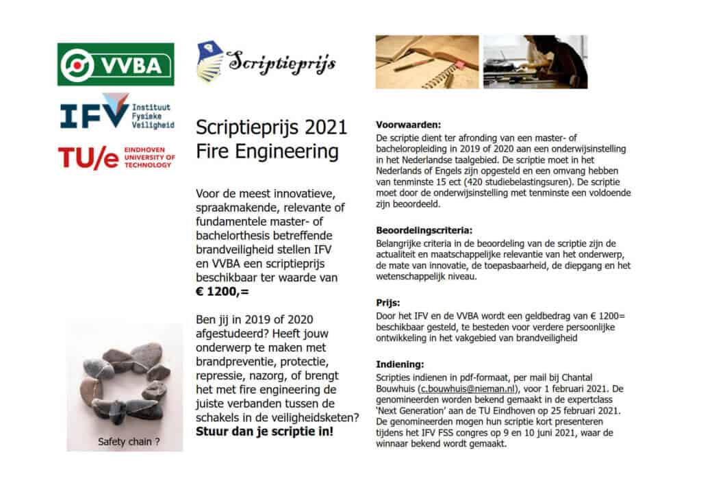 Flyer Scriptieprijs Fire Engineering 2021